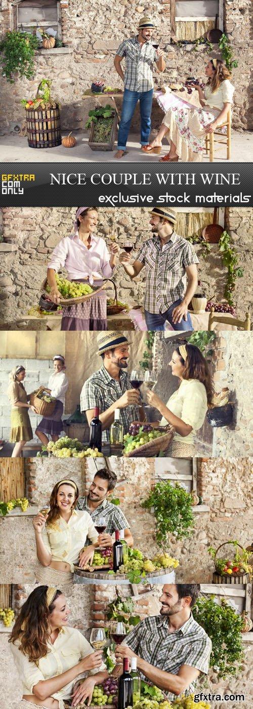 Nice Couple with Wine - 5 UHQ JPEG