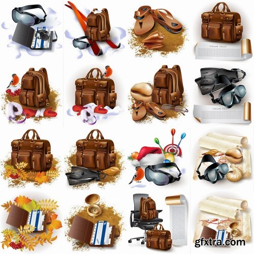 Collection of vector image tourism travel backpack for recreation flyer icon banner poster 25 Eps