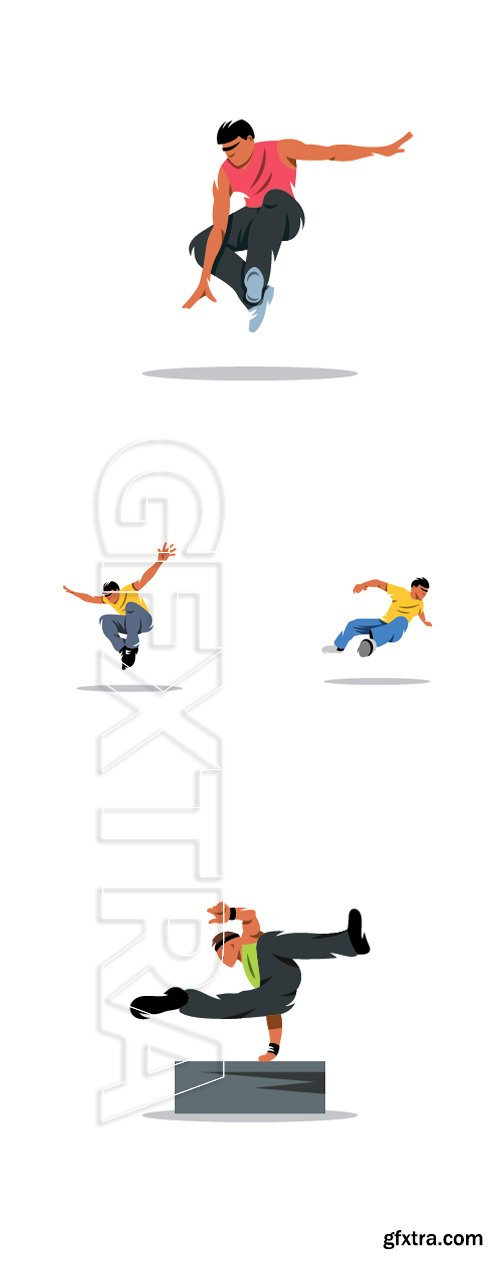 Stock Vectors - Parkour athlete jumping sign