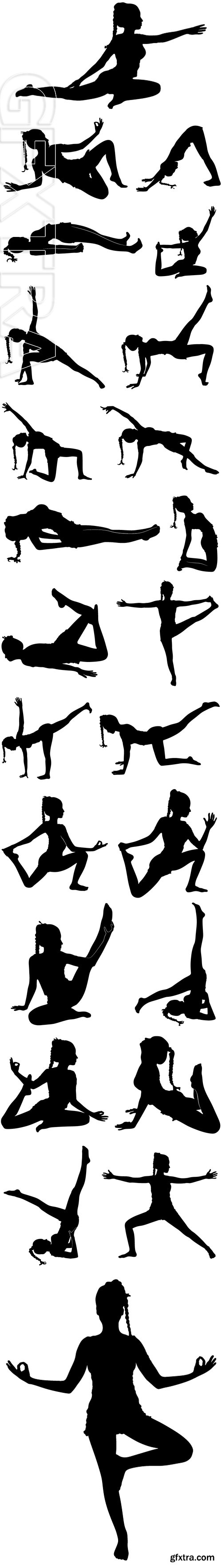 Stock Vectors - Yoga - young beautiful woman in pose isolated on white background