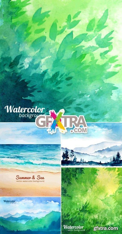 Watercolor Summer Nature Backgrounds Vector