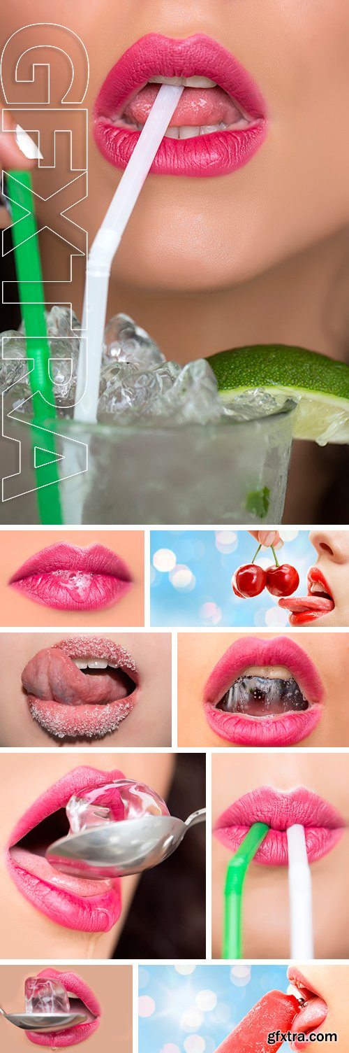 Stock Photos - Closeup of beautiful seductive sexy juicy soft pink sweet female lips