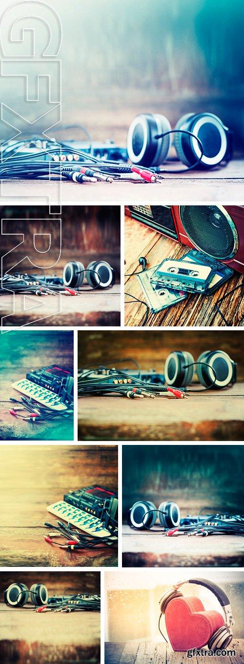 Stock Photos - DJ equipment on rustic wooden background