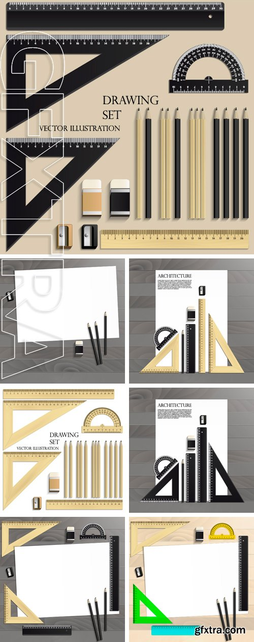 Stock Vectors - Workplace art board, paper, ruler, protractor, pencils, eraser and sharpener realistic on a wooden background