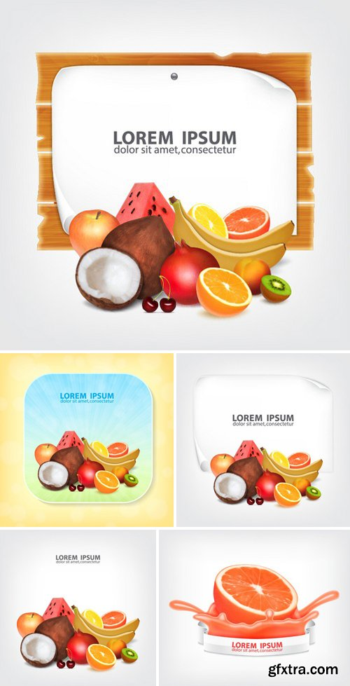 Stock Vectors - Set Of Fruits. coconut, banana, pomegranate, orange, lemon, grapefruit, apple, watermelon, peach, kiwi, cherry