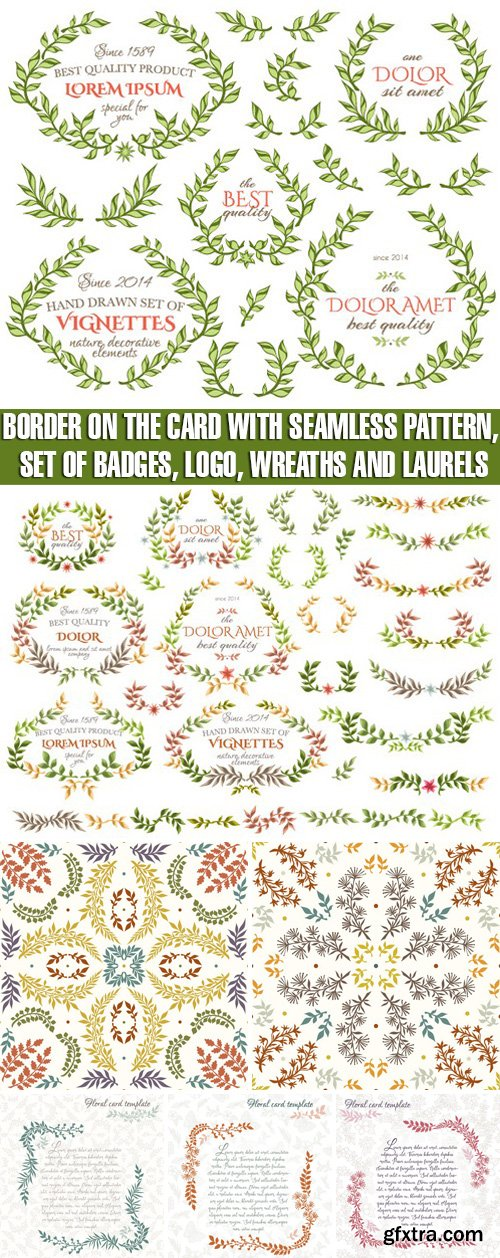 Stock Vectors - Border on the card with seamless pattern, Set of badges, logo, wreaths and laurels
