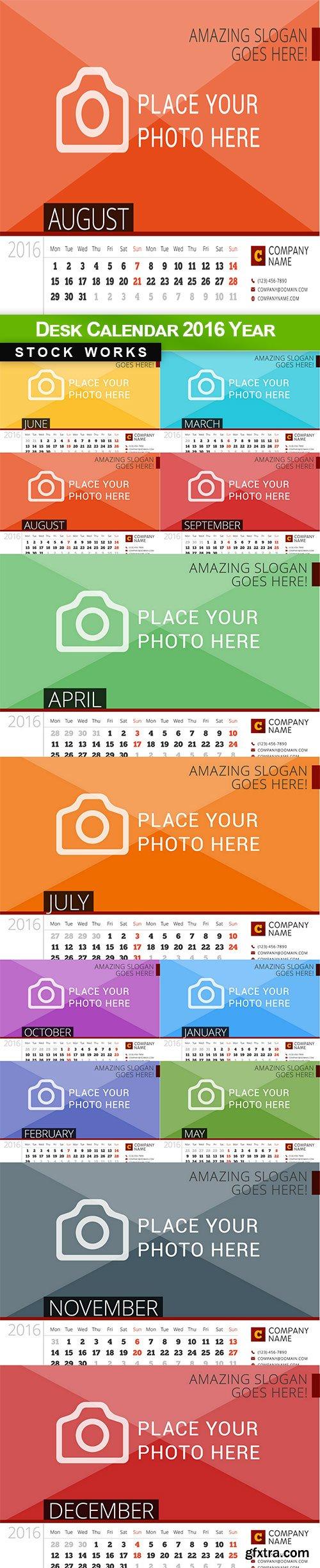 Desk Calendar 2016 Year - 12 EPS