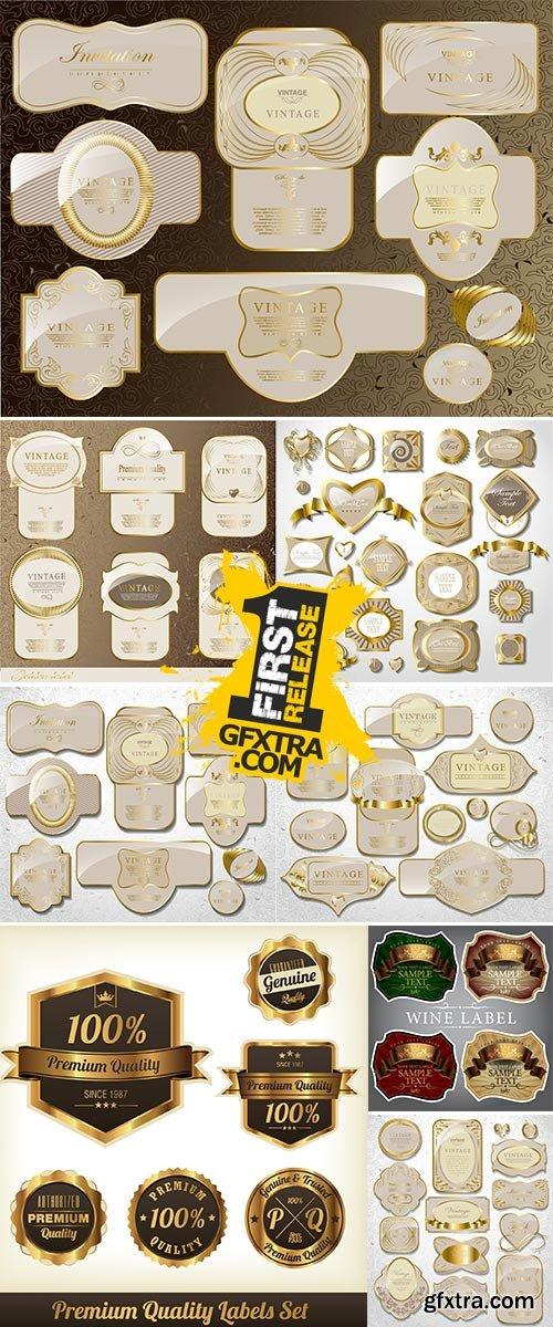 Stock Vintage Retro gold label