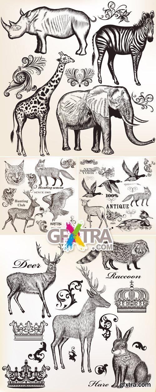 Vintage Hand Drawn Animals Vector