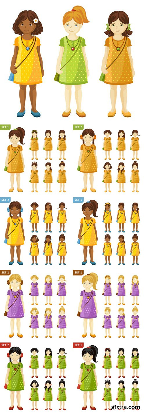 Stock Vectors - Collection Of Cute Little Girls With Different Hairstyles