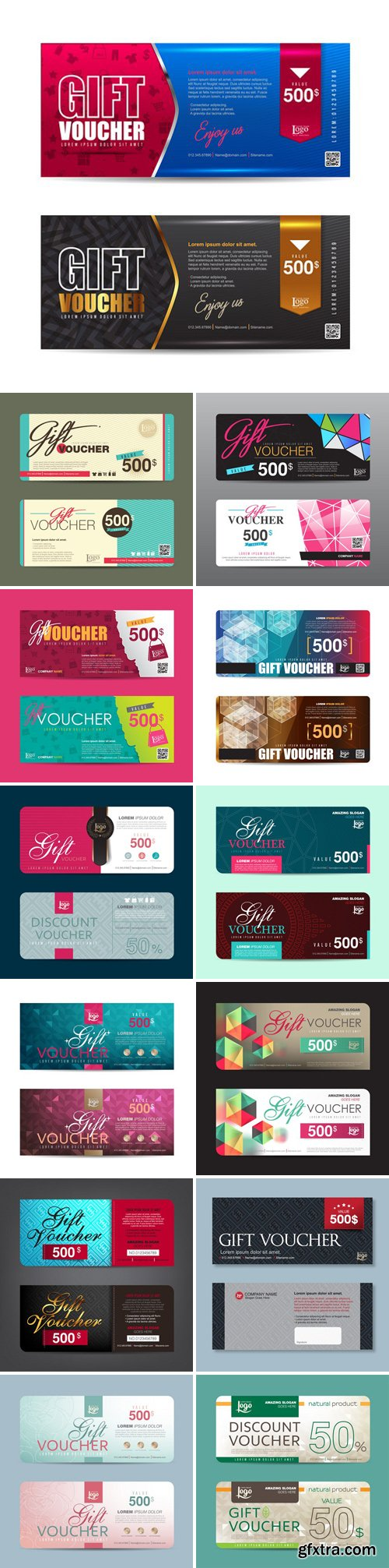 Stock Vectors - Gift Voucher Template, Cute Gift Voucher Certificate Coupon Design Template,Collection Gift Certificate Business Card Banner Calling Card Poster