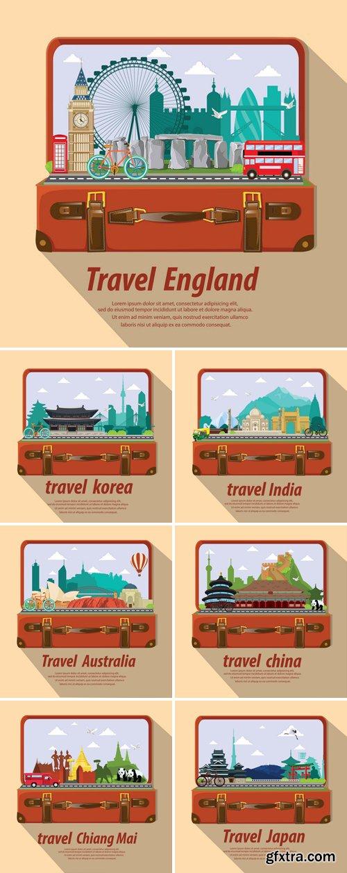 Stock Vectors - Travel Around Republic Of Korea, India, Australia, China, Province, Japan, England