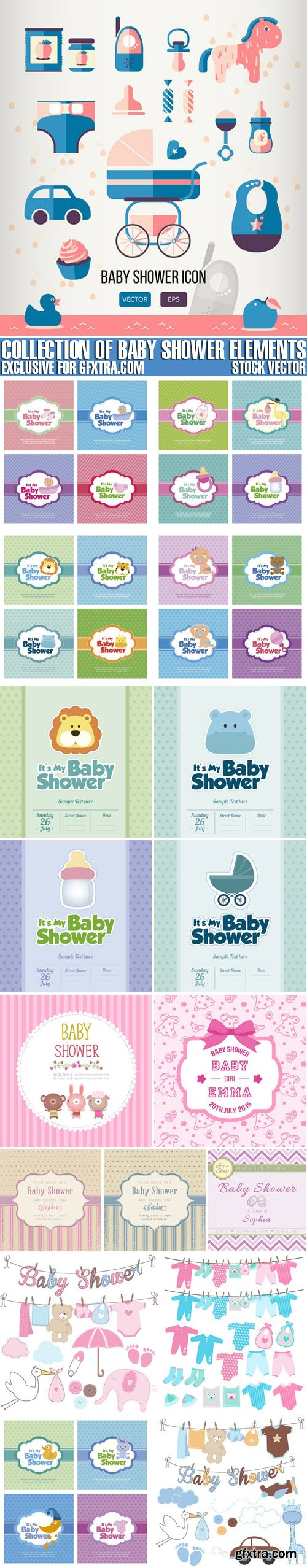 Stock Vectors - Collection Of Baby Shower Elements