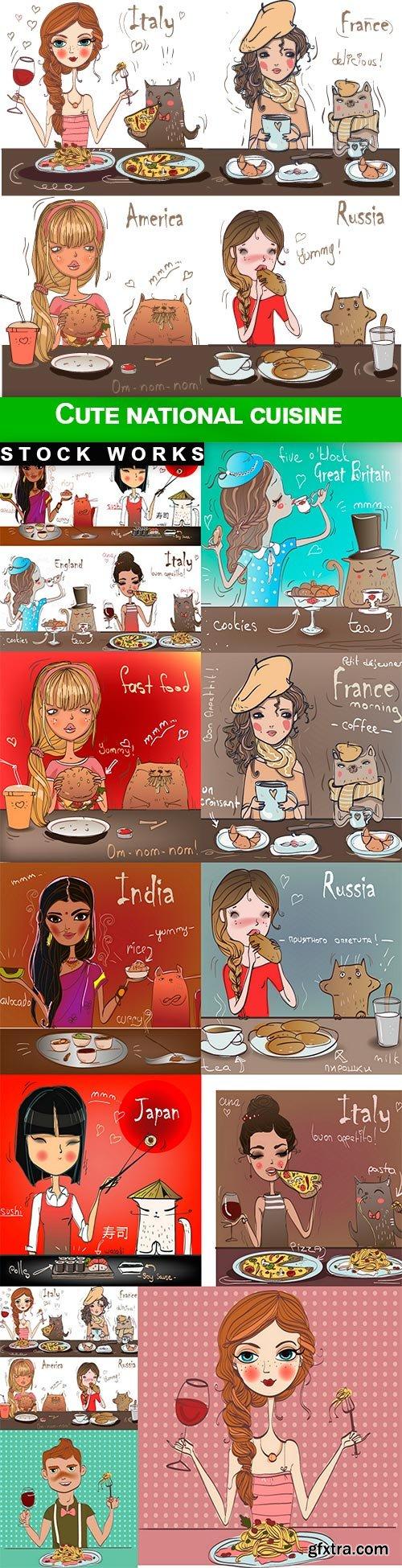 Cute national cuisine - 11 EPS
