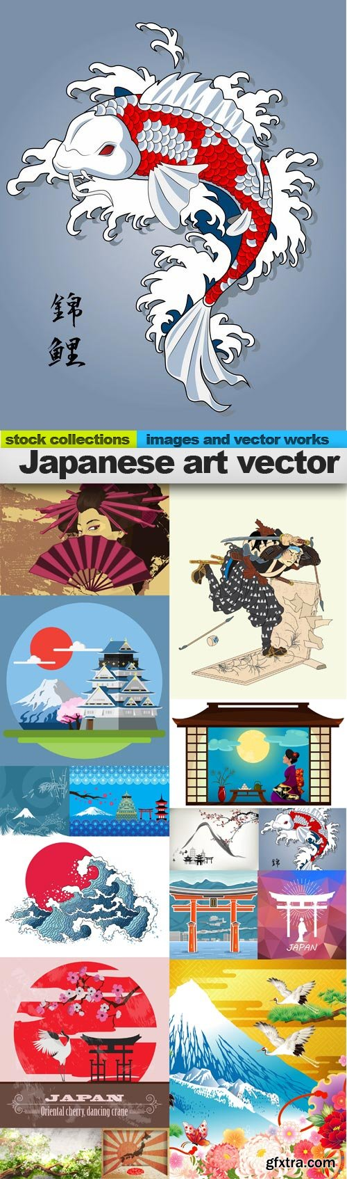 Japanese art vector, 15 x EPS