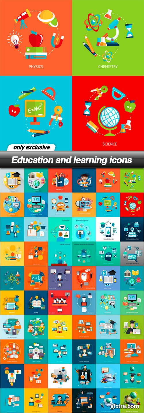 Education and learning icons - 15 EPS