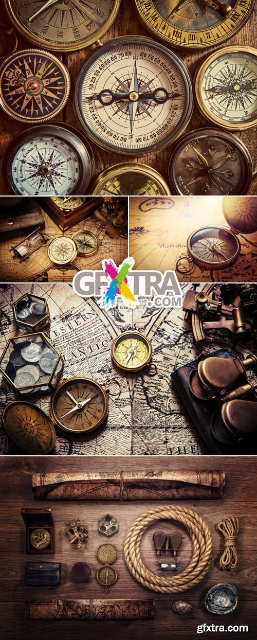 Stock Photo - Vintage Backgrounds with Compass 2