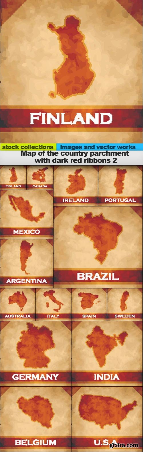 Map of the country parchment with dark red ribbons 2,  15 xEPS