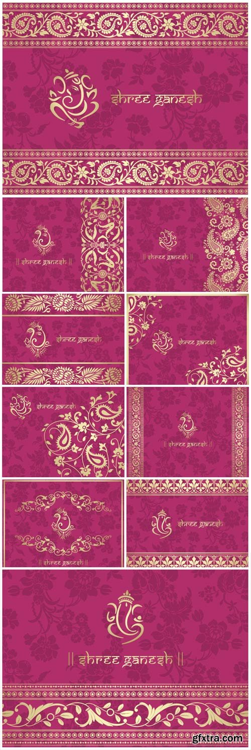 Indian Patterns - Pink Vector Backgrounds 10xEPS