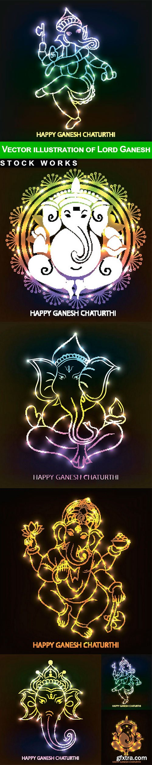 Vector illustration of Lord Ganesh - 6 EPS