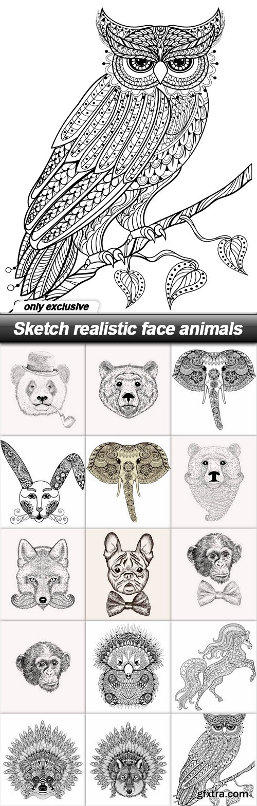 Sketch realistic face animals - 15 EPS