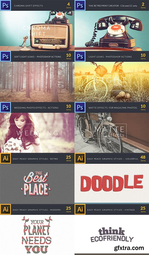 The Easy Peasy Bundle: 463 Classy Photoshop & Illustrator Actions and Styles