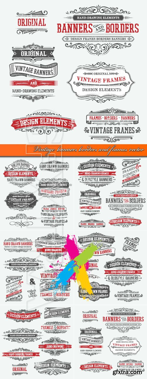 Vintage banners borders and frames vector