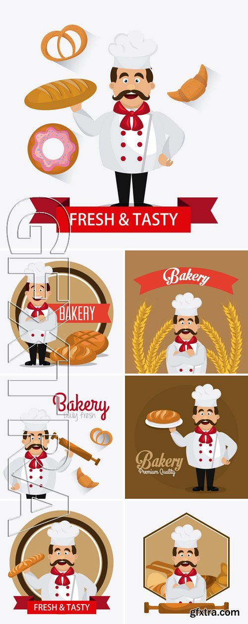 Stock Vectors - Bakery,Desserts And Milk Bar Design With The Chef