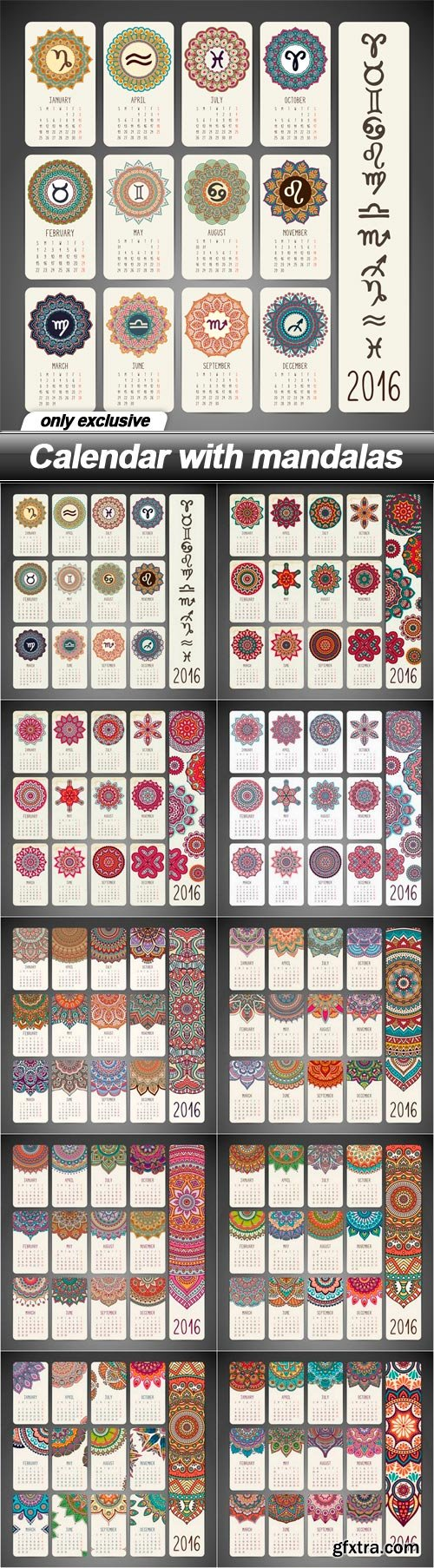 Calendar with mandalas - 10 EPS