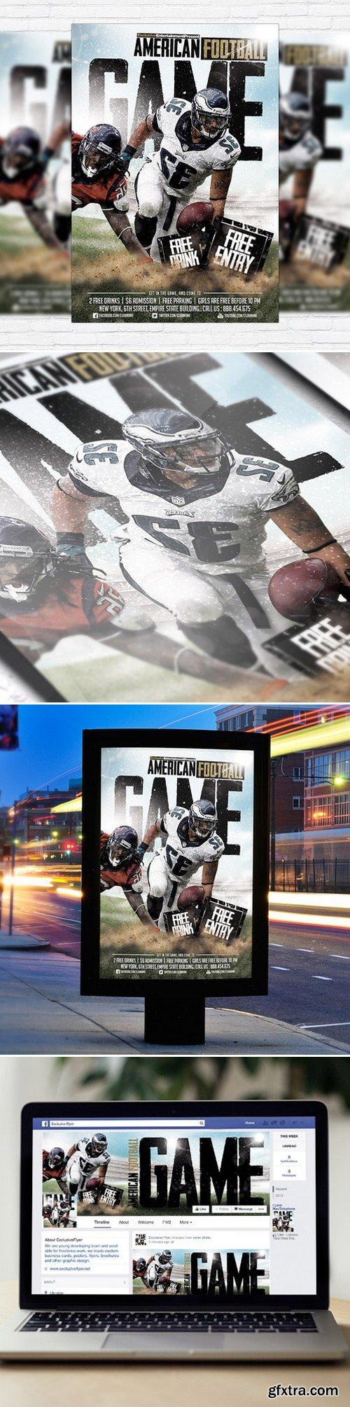 AMERICAN FOOTBALL GAME – PREMIUM FLYER TEMPLATE + FACEBOOK COVER