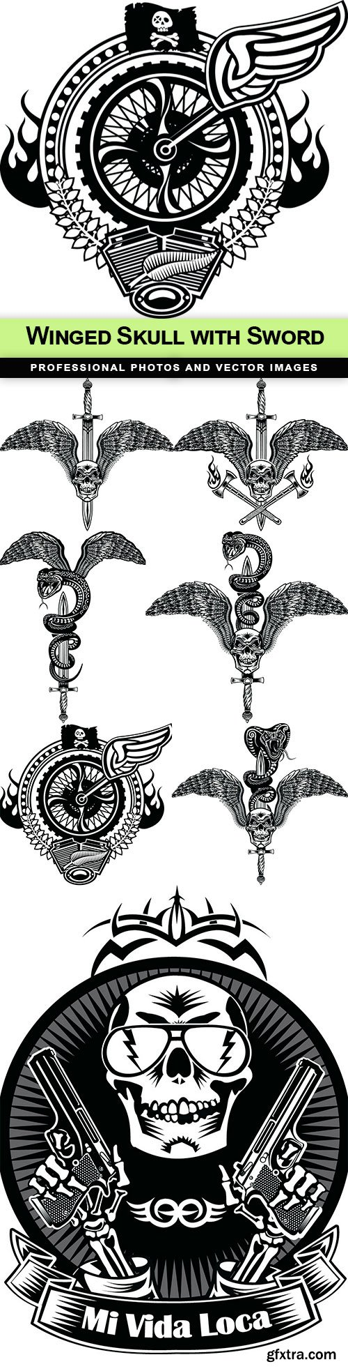 Winged Skull with Sword - 7 EPS