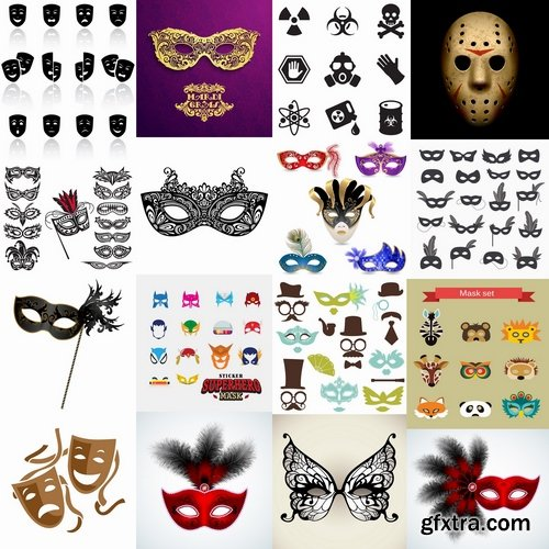 Collection of vector picture theatrical mask mask superhero icon 25 EPS