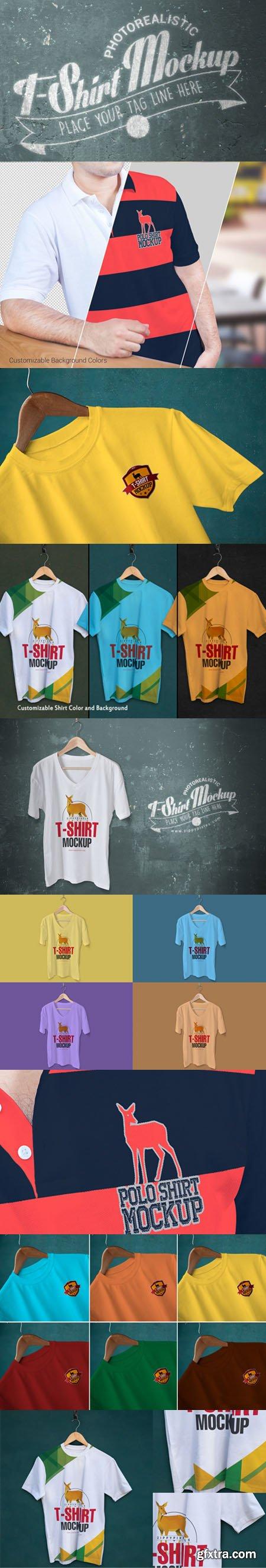 Trendy & Fabulous [V-Neck/Round Neck/Polo] T-Shirt Mockups