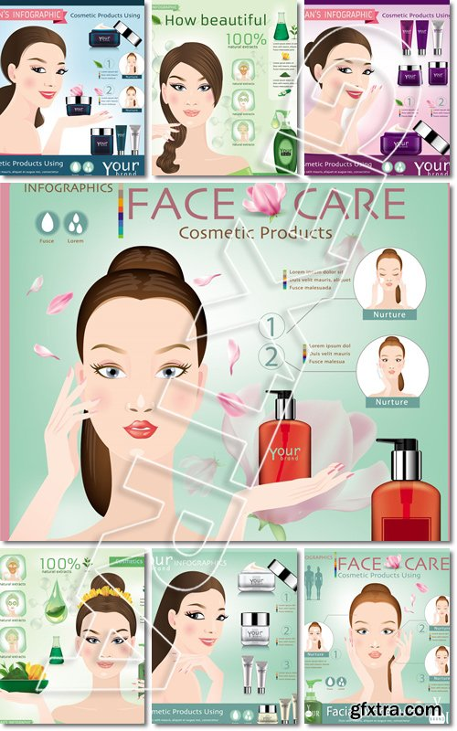 Face creams using infographics - Vector