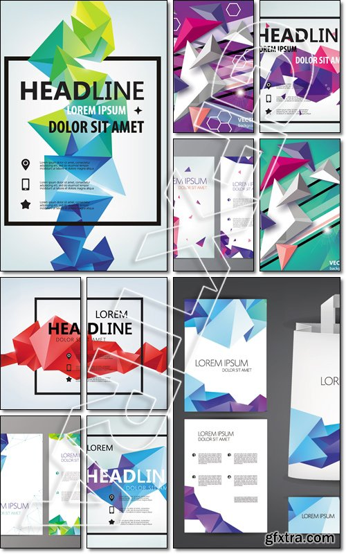 Vector Poster, Banner, Flyer, Cover, Brochure faceted Template design. Modern crystal 3d shape with text space - Vector