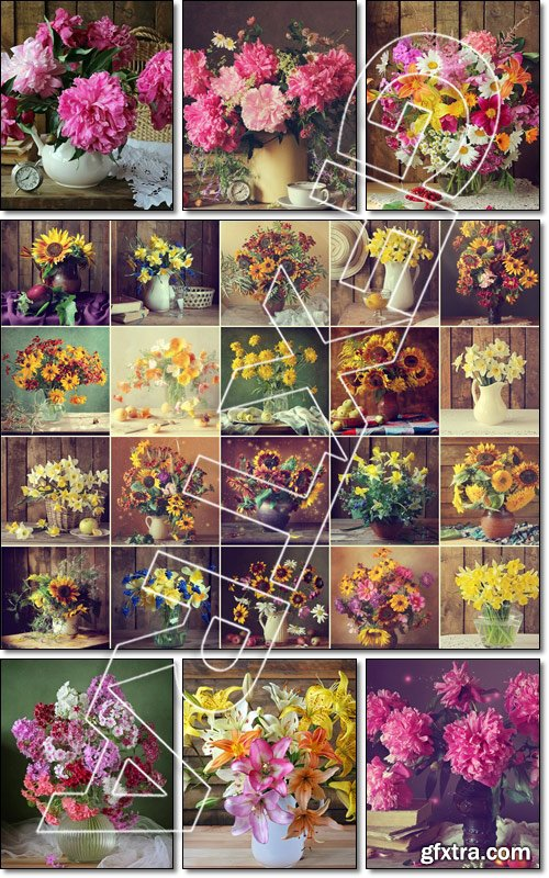 Still life with a bouquet of flouers - Stock photo