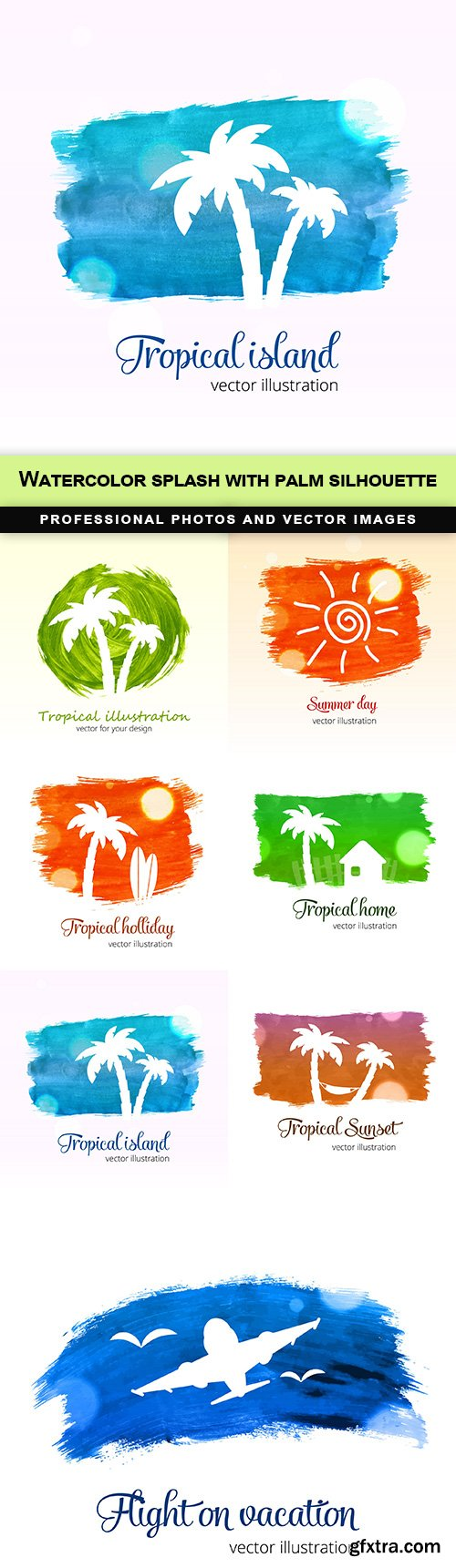 Watercolor splash with palm silhouette - 7 EPS