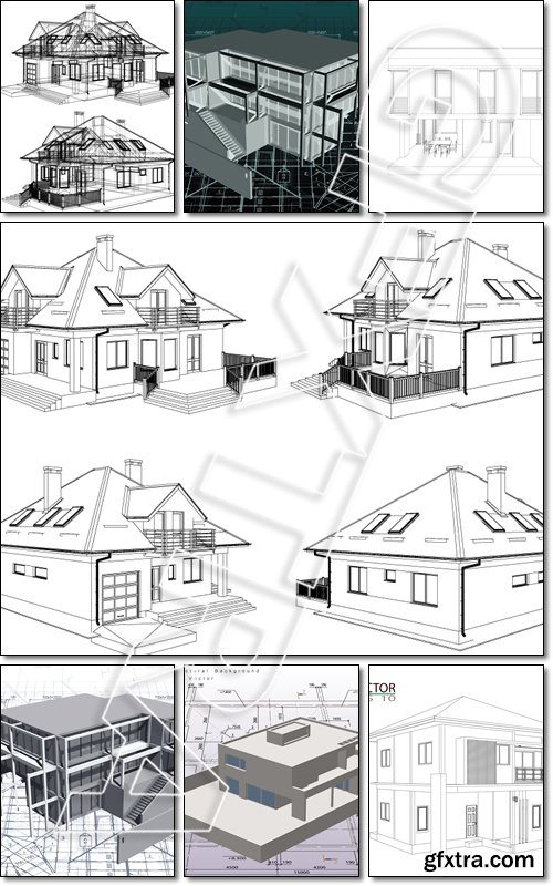 Family House Perspective - Vector