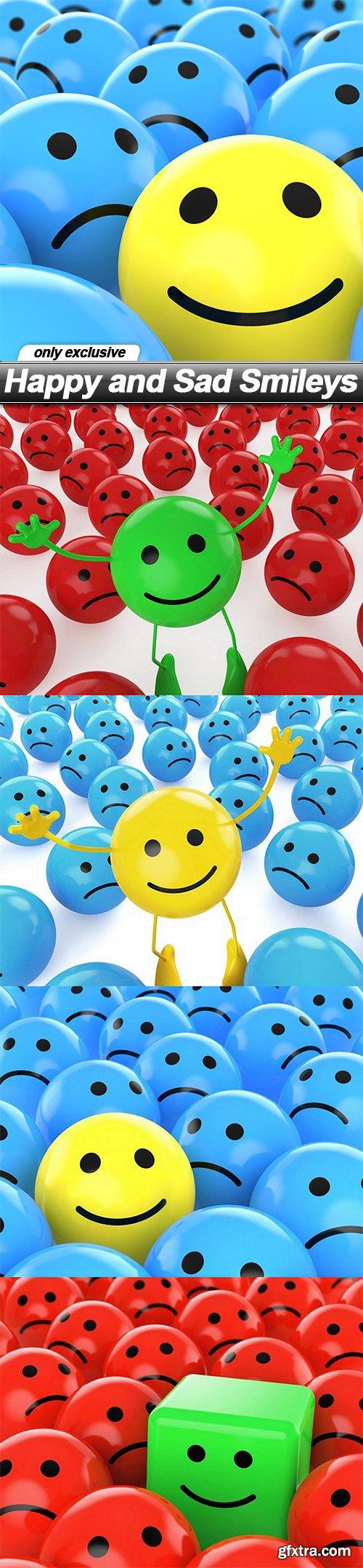 Happy and Sad Smileys - 5 UHQ JPEG