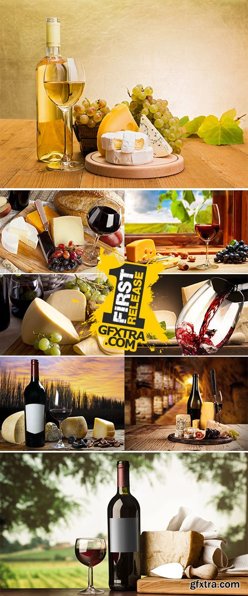 Stock Image Wine in glass with cheese