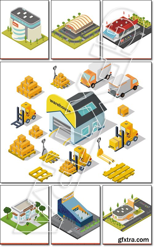 Flat 3d isometric modern glass cinema building block infographic concept. Entertainment theater with parking - Vector