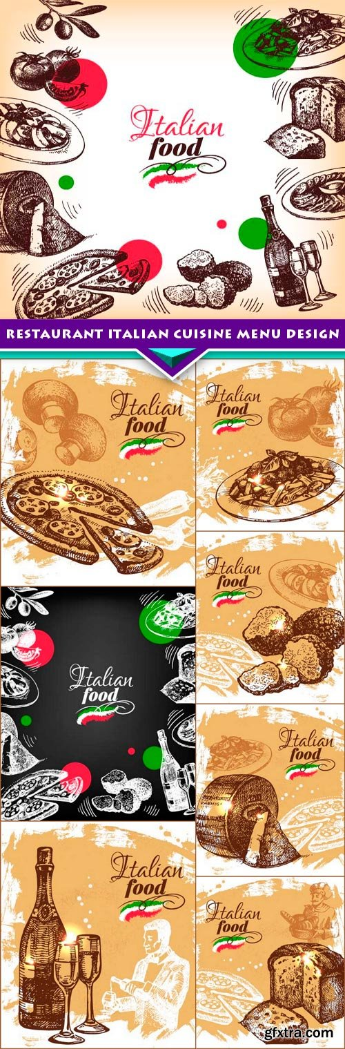 Restaurant Italian cuisine menu design 8x EPS