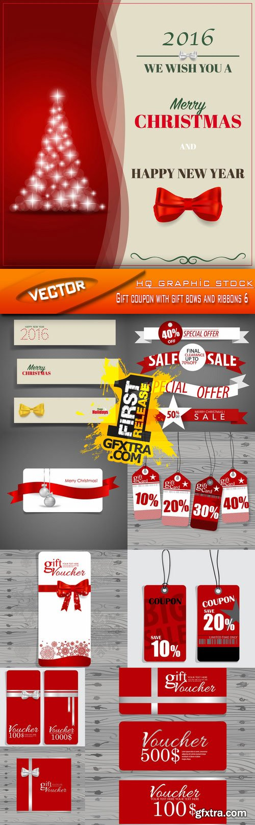 Stock Vector - Gift coupon with gift bows and ribbons 6