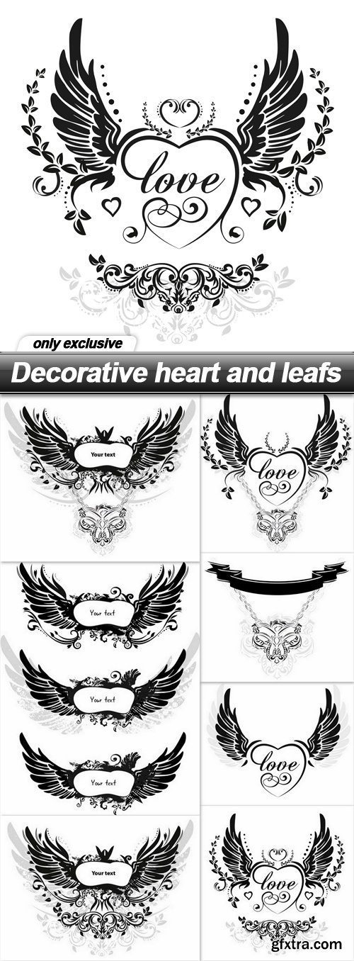 Decorative heart and leafs - 7 EPS