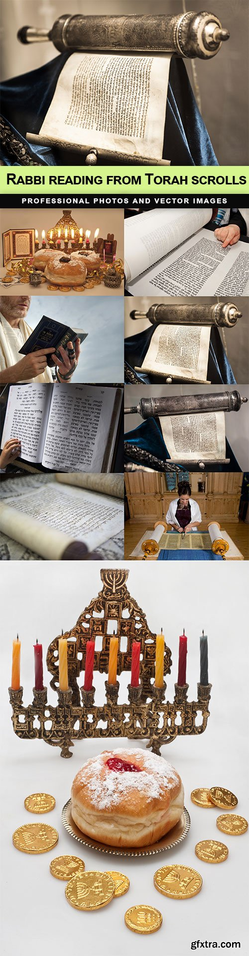 Rabbi reading from Torah scrolls