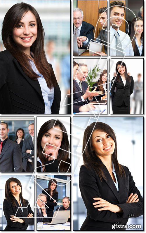 Portrait of a smiling woman in front of a group of people - Stock photo