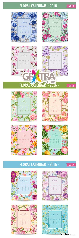 Floral Calendar 2016 Vector
