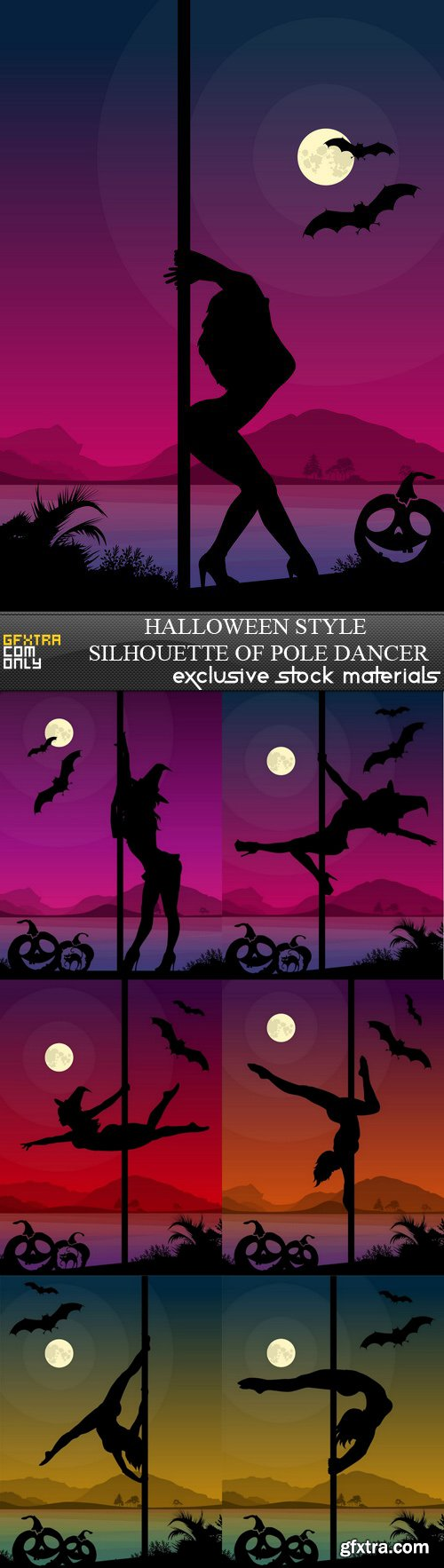 Halloween Style Silhouette of Pole Dancer - 7xEPS&Ai
