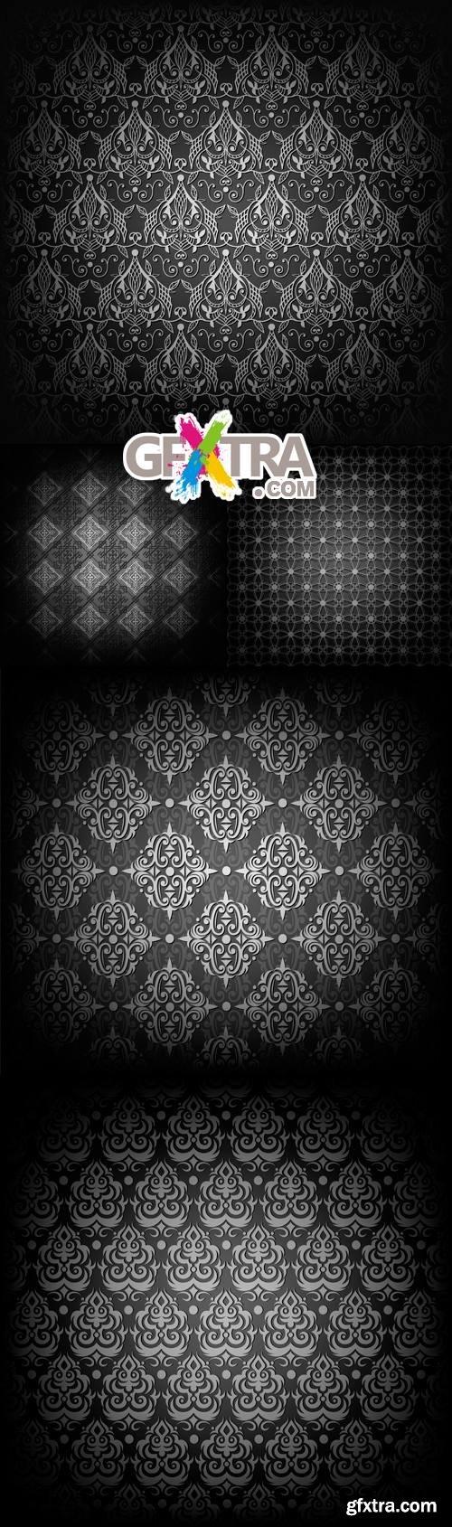 Black Floral Patterns Vector