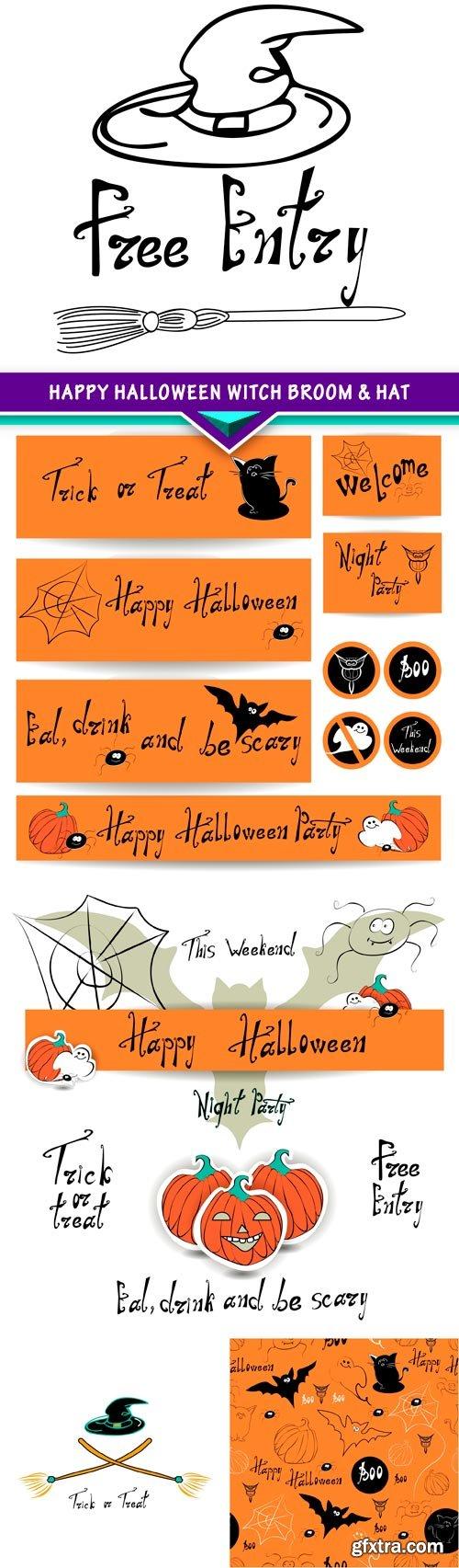 Happy Halloween witch broom & hat 5x JPEG